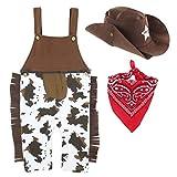 Mombebe Baby Western Cowboy Fasching Kostüm Strampler mit Schal und Hut (Cowboy, 0-6 Monate)