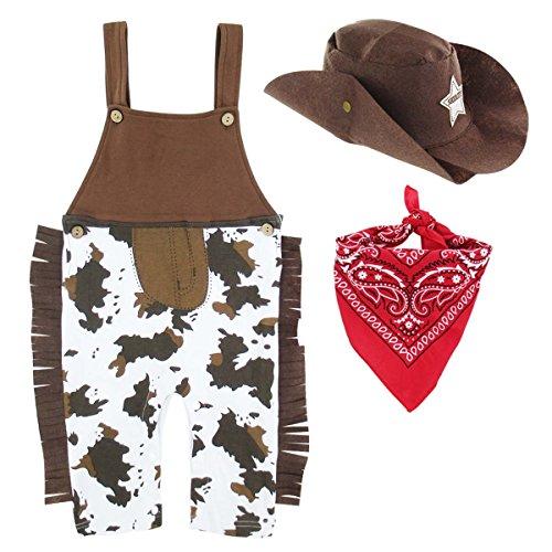 Mombebe Baby Western Cowboy Fasching Kostüm Strampler mit Schal und Hut (Cowboy, 0-6 ()
