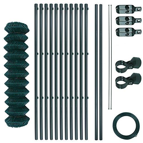 Maschendrahtzaun-Gartenzaun-Set verzinkt und grün beschichtet Maschenweite 6 x 6 cm, Zaunset, Drahtzaun, Maschendraht, Komplettset, Zaun-Set (1,25 x 25 m)