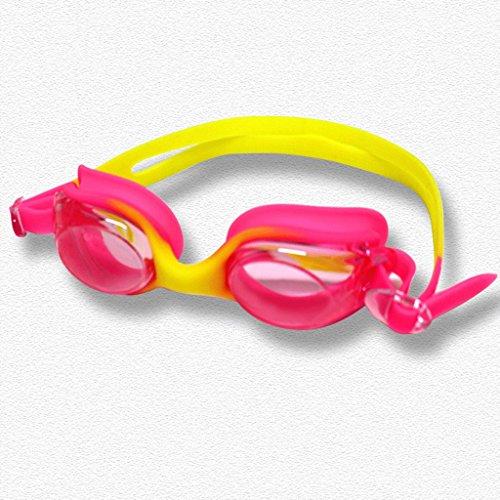 Schwimmbrille Art und Weise Nette wasserdichte Anti-Fog-Brille Jungen und Mädchen Farbe ZHJING (Color : Red)