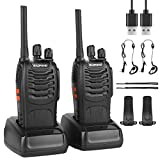 BF-88E Walkie Talkies Rechargeable Long Range, Portable Handheld Two way Radio with Earpieces and LED Light Voice Prompt for Adult Hiking Biking Communication (2 pack)