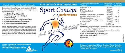 Sportconcept Performance nach Dr. med. Michalzik, mit Arginin, BCAA, L-Carnitin, Taurin, Kreatin, Calcium und Magnesium – ohne Zusatzstoffe, 600 g Pulver