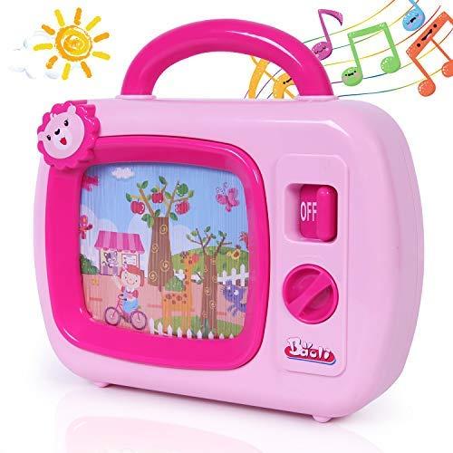 SGILE Mini Baby Musik TV Spielzeug, TV Fernseher mit Musik und bewegten Bildern, Musikbox Spielzeug mit Animation auf dem Bildschirm, geeignet für Kinder ab 18 Monate, Geschenk Rosa (Musik-tv)
