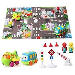 tapis jouer ensemble de voitures dans la ville avec avion accessoires jeux et jouets. Black Bedroom Furniture Sets. Home Design Ideas