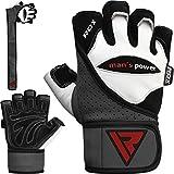 RDX Fitness Handschuhe Trainingshandschuhe Handgelenkschutz Crossfit Sporthandschuhe Gewichtheben Rindsleder workout krafttraining Bodybuilding Gym Gloves