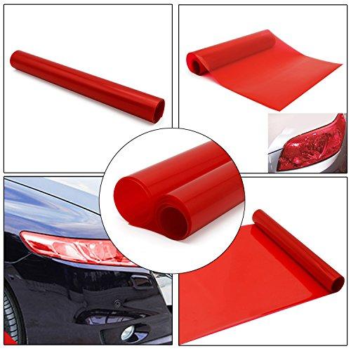 kefflum Auto Scheinwerfer Folie Tönungsfolie Aufkleber Rückleuchten Blinker Nebelscheinwerfer Aufkleber Rot 200 * 30cm