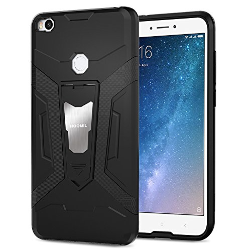 HOOMIL Negro Armor Funda para Xiaomi Mi MAX 2 Carcasa Shock-Absorción Silicona Case - Negro (H3211)