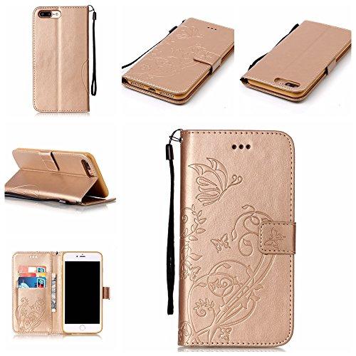 iPhone 7 Plus Hülle, iPhone 7 Plus Neo Hülle Case, iPhone 7 Plus Leder Brieftasche Hülle Case,Cozy Hut iPhone 7 Plus Leder Hülle iPhone 7 Plus Ledertasche Brieftasche Schutz Handytasche mit Standfunkt golden