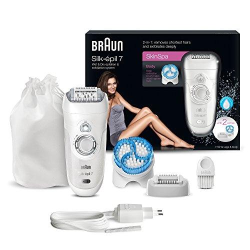 Braun Silk-épil 7 SkinSpa Epilierer 7-921e, mit Peeling-Bürste, weiß