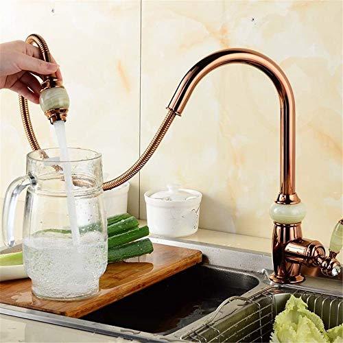 WngLei Zeitgenössischer Einhebelmischer für Küchenspüle Jade Gold Color Kupfer Alle Kaltwasser 360 ° Schwenkauslauf Einlochmontage Bad Becken Wasserhähne für Küchenspüle