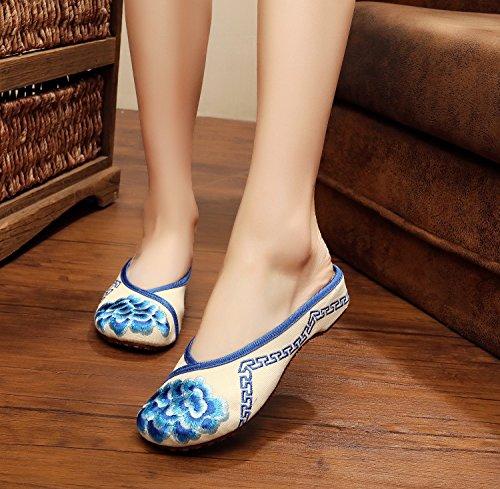 &hua Gestickte Schuhe, Sehnensohle, ethnischer Stil, weiblicher Flip Flop, Mode, bequem, Sandalen Blue