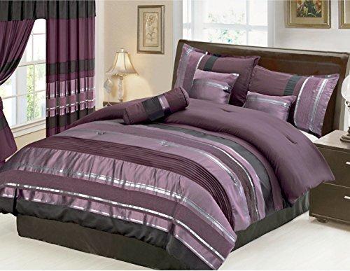 Grand King-bett (Grand Linen 7Stück Oversize aubergine lila/schwarz Silber gestreift Chenille Tröster Set Betten, Polyester-Mischgewebe, violett, California King)