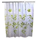 Omiky® 180*180cm Shower Curtain,Fashion Thick Waterproof 70.9*70.9Inches Bathroom Curtain (White with Green Butterfly)