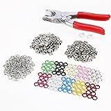 DeliaWinterfel 100 Set 10 Farben Druckknopf Druckknoepfe Open Ring and Zange Werkzeug DIY Basteln by