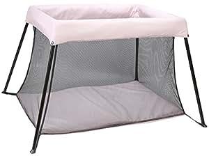 Kindsgut parc bébé, confort et luxe pour bébé, parc ludique avec matelas, pliable, stabile, housse en tissu, sac de transport en forme rectangulaire inclus, idéal comme premier équipement pour bébé, accessoire de puériculture, rose pâle