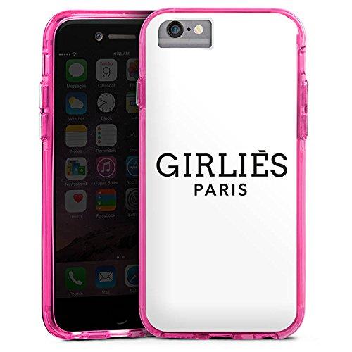 Apple iPhone 6 Plus Bumper Hülle Bumper Case Glitzer Hülle Paris Girlies Luxus Bumper Case transparent pink