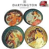 Dartington Mucha Set Of Four 4 Glass Drinks Coasters With Holder Parastone CS03MUC