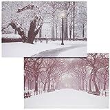 Mendler 2X LED-Bild Leinwandbild Leuchtbild Wandbild 60x40cm, Timer ~ Winter + flackernd