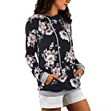 Damen Blumen Kapuzenpullover Hoodie Sweatshirts Oversize Oberteil Pullover Langarm
