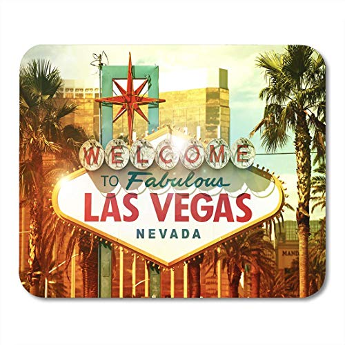 AOHOT Mauspads Neon Fabulous Vegas Welcome to Las Nevada Strip Entrance Sign American Cities Collection City Mouse Pad Mats 9.5