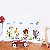 Drôle Cirque Acrobaties Brouette Stickers Muraux Chambre Enfants Chambres Home Decor Cartoon Animaux Stickers Muraux Pvc Murale Art