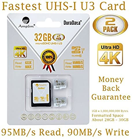 2X 32GB Micro SDHC U3 Card Plus SD Adapter Pack. Amplim Extreme Pro Class 10 UHS-I MicroSDHC 95MB/s Read, 90MB/s Write. Ultra High Speed HD UHD 4K Video. Internal/External MicroSD Flash Memory Storage
