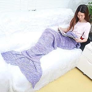 UltraGood-Divano sacco a pelo una coda Style-oggetti per uso domestico, con maglia in poliestere che dorme Viola