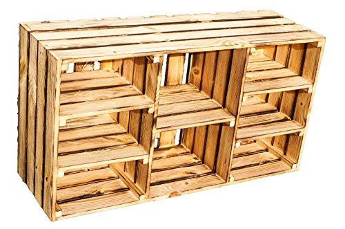 grosse Regalkiste 'Heino' natur / geflammt mit 5 Einlageböden / Zwischenbrettern ca 93x30x50cm...