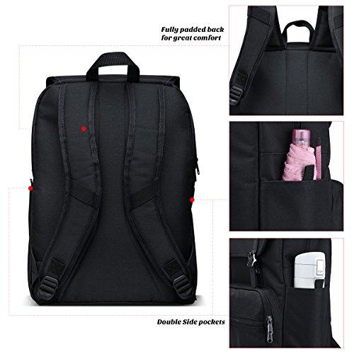 ULAK Backpack Beiläufiger leichter Hochschule Rucksack Passt 15-Zoll-Laptop-Tasche Schulreise Daypack Schwarz
