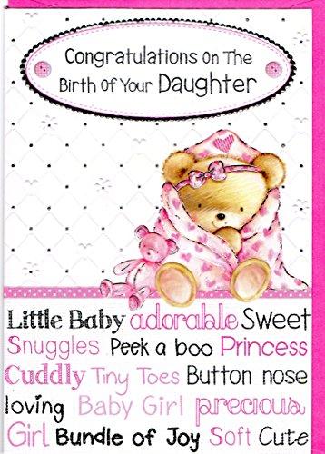 NEW Baby Girl-Biglietto di congratulazioni per la nascita della vostra scheda figlia, di qualità per (Congratulazioni Nuovo Bambino)