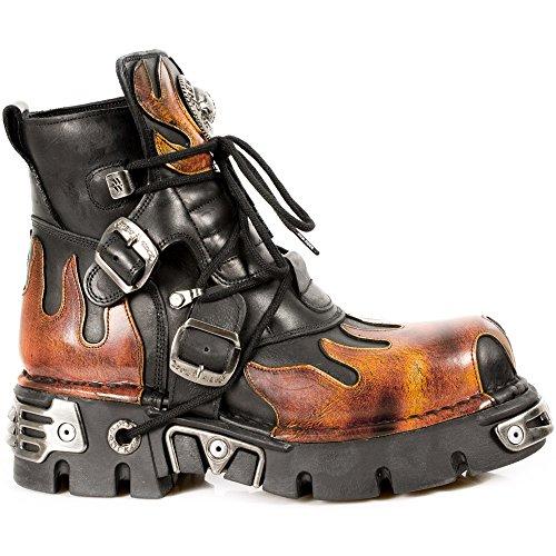 New Rock Boots Lederstiefel schwarz Style 288 Fire, Black