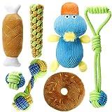 Homealexa Hundespielzeug Set, 7er Pack Dauerhaft Welpenspielzeug aus Natürlicher Baumwolle, Hund Seil Kauspielzeug und Quietschende Plüsch Hundespielzeug, geeignet für kleine und mittelgroße Hunde