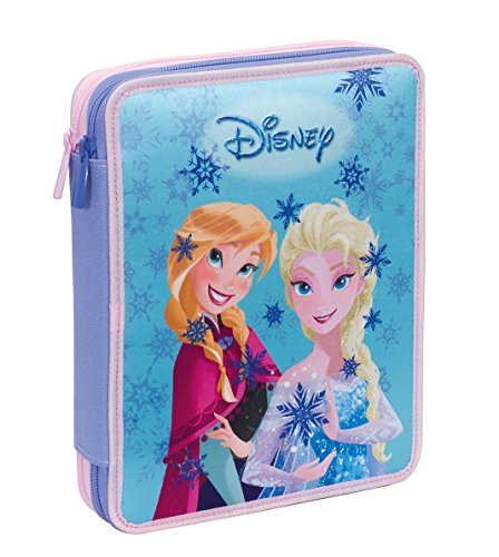 Astuccio maxi disney, frozen magic lights, blu -con contenuto: matite, pennarelli
