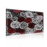 Blumen Rosen Grau Rot Leinwand Bilder (PP2430O6FW) - Wallsticker Warehouse - Size O6 - 80cm x 60cm - 230g/m2 Canvas - 1 Piece