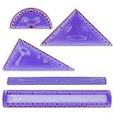 Larkpad morbido plastica Combo righelli 20 cm, 180 gradi goniometro, 2 triangolo e 1 Wave, 5 in 1 pezzi flessibile righelli, pollici e metrica, per ufficio o scuola, viola