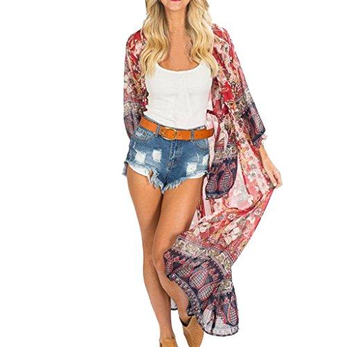 URSING Damen Bohemien Ethnischen Stil Drucken Strandponcho Bikini Cover Up Kimono Cardigan Boho Chiffon Sommerkleid Schöne Chic Sommer Beach Poncho Cardigan Strandkleider (S, Rot) -