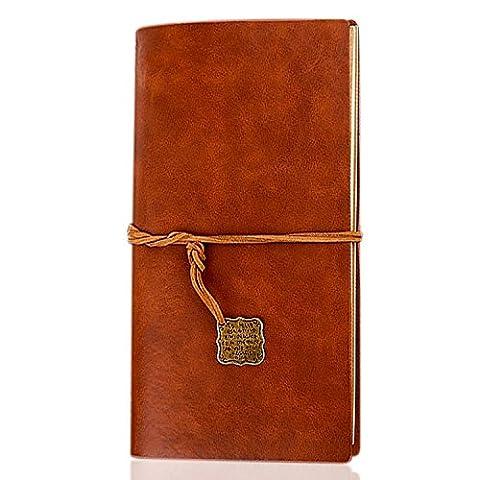 Foonii Einfaches und Art- und WeiseRetro- Notizbuch, Reise-loseblatt Notizbuch mit Bügeln und lamelliertem Notizbuch (Brown)