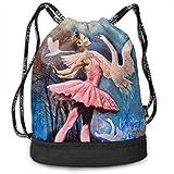 Rtytgfdw Multi-Functional Unisex Ballet Dance Girl and Swans Casual Print Crossbody Bag
