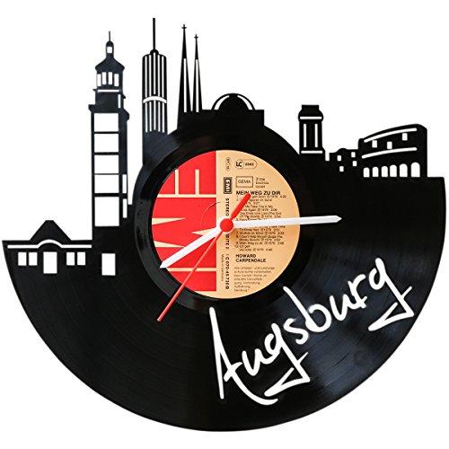 GRAVURZEILE Wanduhr aus Vinyl Schallplattenuhr Skyline Augsburg Upcycling Design Uhr Wand-Deko Vintage-Uhr Wand-Dekoration Retro-Uhr Made in Germany