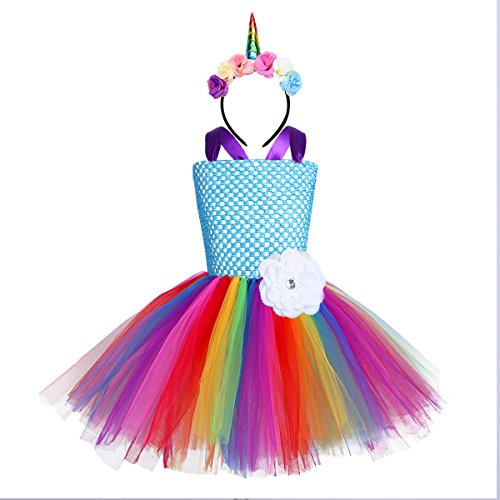 Unicorn Headband and Tutu Tulle Party Dress - many colours