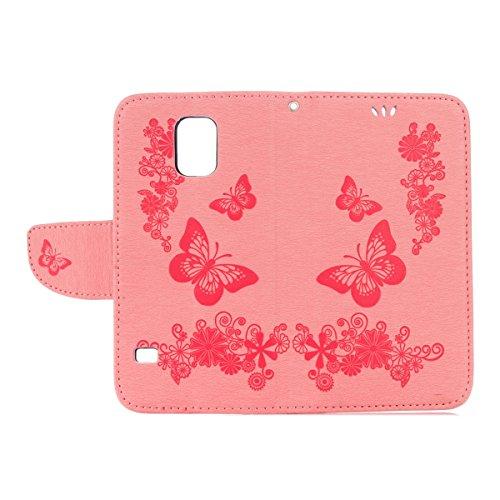 Hülle für Samsung Galaxy S5 Mini, Tasche für Samsung Galaxy S5 Mini, Case Cover für Samsung Galaxy S5 Mini, ISAKEN Blume Schmetterling Muster Folio PU Leder Flip Cover Brieftasche Geldbörse Wallet Cas Schmetterlinge Blumen Pink