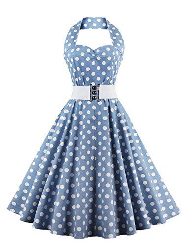 VKStar®Retro Chic ärmellos 1950er Audrey Hepburn Kleid / Cocktailkleid Rockabilly Swing Kleid Hellblau L