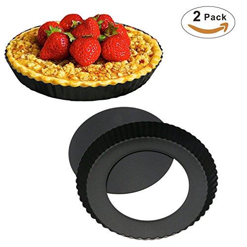 Bystep 2er Pack Quicheform mit entfernbarem, 22,4 cm Delicious gute Antihaftbeschichtung Tortenform Boden, Kuchenform Rund Quiche Tarte Form zum Backen