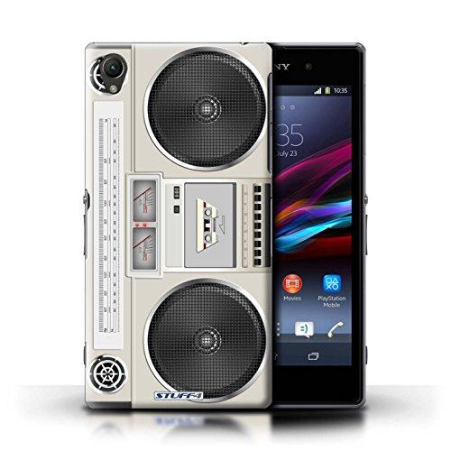 Kobalt® Imprimé Etui / Coque pour Sony Xperia Z1 / Compact Cassette Audio conception / Série Retro Tech Boombox
