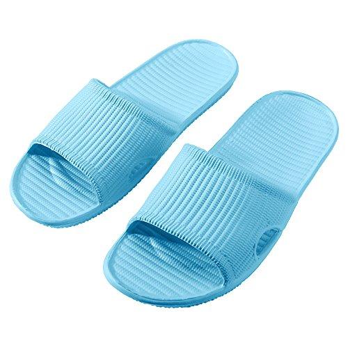 WILLIAM&KATE Unisexe Couple Pantoufles DÉté Casual Anti-Slip Pantoufles Intérieur Léger Sandal Salle de Bains Pantoufle bleu clair
