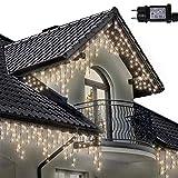Lichterkette Eiszapfen 220 LED für Innen und Außen, warme weiße Baum, Länge 7.5m, GS Geprüft, Optional mit 8 Leuchtmodi/Memory/ Timer, Grünes Kabel - 2 Jahre Garantie