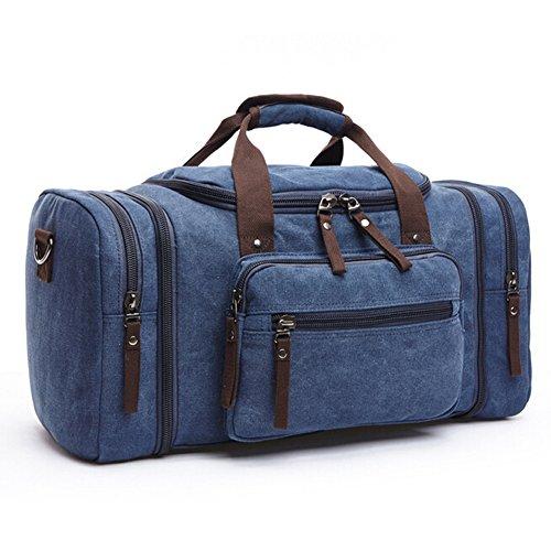 QINCAO Sporttasche Weekender Tasche Reisetasche Canvas Segeltuch Handgepäck Vintage Gr. 53 x 24 x 30 cm (Blau) Blau