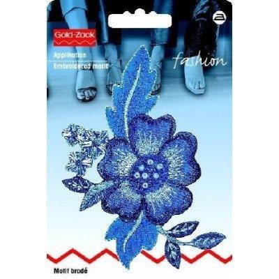 Motif br rangée de fleurs, bleu roi