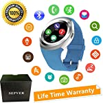SEPVER Smart Watches Smart Watch SN05 Round Smartwatch With SIM TF Card Slot Sync Calls Notifications For IOS Android Samsung Huawei Sony LG HTC Google Men Women Kids Girls Boys Blue