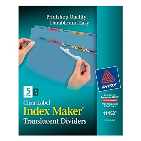 Index Maker Clear Label Punched Dividers, Multicolor 5-Tab,